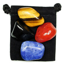 ENERGETIC GROUNDING Tumbled Crystal Healing Set = 4 Stones + Pouch + Card