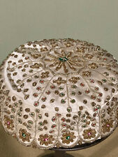 New listing Vintage Ladies Hat / Made In India / Tinsel & Silver / Rhinestones / Hand Made
