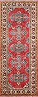 Geometric Tribal Vegetable Dye Super Kazak Oriental Runner Rug Hand-knotted 2x6