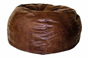 London Leather Bean Bag in Black, Crunch Brown