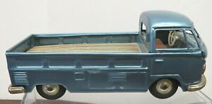 BANDAI JAPAN VINTAGE VOLKSWAGEN SINGLE CAB TRUCK BLUE FRICTION TIN TOY