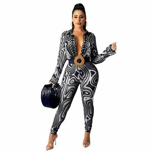 New Women Fashion Long Sleeves Print Patchwork Button Casual Jumpsuit 2pcs