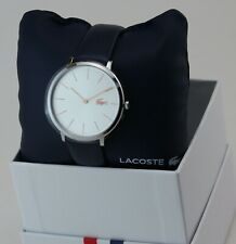NEW AUTHENTIC LACOSTE MOON SILVER BLUE NAVY LEATHER WOMEN'S 2000986 WATCH