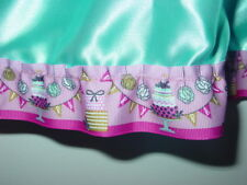 "Blue satin half slip Happy Birthday pink trim cakes gifts 25""-50 waist sissy-XXL"