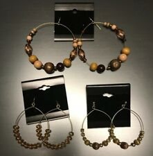 Wood Lucite Amber Cats Eye Bead Jewelry Boho Style 3 Pair Hoop Earrings Crystal