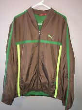 Puma Windbreaker Jacket Men's Size XL Brown Green RARE Logo Spell Out