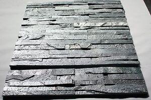1 Muster Riemchen Schiefer Steinwand Verblender Tibet silbergrau Fliesen, 44€/m²