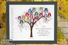 Personalised Retirement Thank You Goodbye Retired Picture Print Gift Word Tree