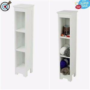 White Bathroom Furniture Cupboard 3 Shelves Caddy Unit Storage Organiser Cabinet