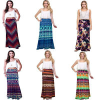 Women Floral Print Elastic Waist Pleated Summer Beach Long Boho Maxi Skirt Dress