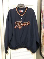 Nike Detroit Tigers Pullover Bench Jacket XXL Blue Orange Lightweight Zip MLB