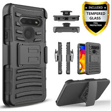 For LG Phoenix 5 Phone Case, Belt Kickstan Cover+ Tempered Glass Protector