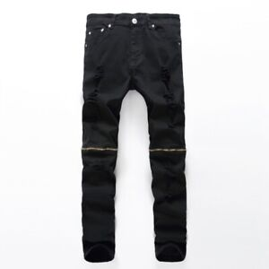 Men Denim Pants Distressed Slim Trousers Ripped Zipper Fitted Jeans Casual