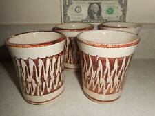 """Unusual Set of 4 Deneen Pottery 3.5"""" X 3"""" Tumblers/Cups Made in St. Paul, MN"""