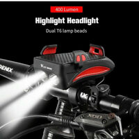 LED Bicycle Headlight USB Rechargeable Bike Horn Handlebar Phone Holder Cycling