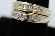 14K SOLID GOLD 18 AUTHENTIC DIAMONDS 1/2CTW ENGAGEMENT RING & WEDDING BAND SET