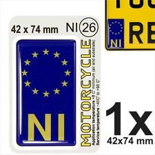 NI euro ES Flag Motorcycles NUMBER PLATE 3D GEL STICKER Resin Domed Badge/Decal