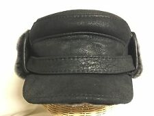 Ricardo 100% Sheepskin Leather Black Winter Large 59cm 7 3/8 Mouton Fur Inner
