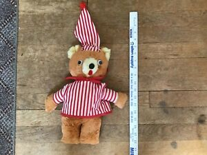 Vintage 1960s Teddy Bear Plush Red Striped PJs and Cap