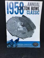1958 Cotton Bowl Program Rice v Navy