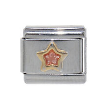 Light pink Star gold outline Italian Charm - fits 9mm Classic Italian charms