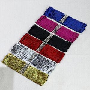 Ladies Womens Sparkly Sequin Waist Belt Elastic Stretch Metal Buckle Waistbbelt