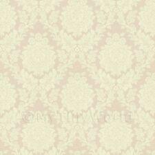 miniatura per casa delle bambole rosa pallido floreale carta da parati damascata