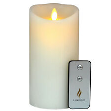 Luminara Fireless Real-Flame Effect Pillar Candle in White Ultra Realistic 7""