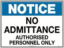 Notice No Admittance Authorised Personnel Only Sign 600x450mm Corflute