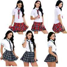 Sexy Women Naughty High School Girl Mini Skirt Tie Outfit Halloween Cosplay