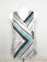 White House Black Market Silky Green Beige White Stripe Fit & Flare Tank Size S