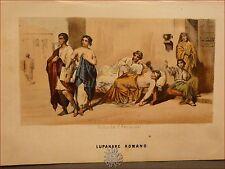 EROTICA: Tavola Acquerellata d'epoca '800 LUPANARE ROMANO Perrin Roma Antica
