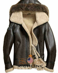 Men's RAF B3 Bomber Flight Aviator Shearling Sheep Skin Leather Jacket with hood