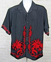 No Boundaries Mens Medium Button Down Short Sleeve Shirt Red Tribal Dragons Game