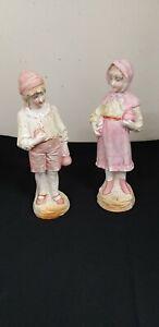 Pair of Boy & Girl Ceramic Figurines ? Fairings Cottagecore height 25 cm
