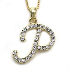 NEW Initial Alphabet Letter P Pendant Necklace High Polish Gold Tone Clear Charm