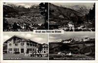Reit im Winkl Mehrbild-AK 1953 Kaisergebirge Kriegerkapelle Dorfplatz Markt Berg