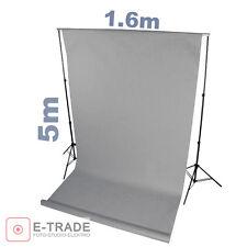 HELLGRAU Hintergrund 1.6m x 5m Lang ! mit Pappröhre FOTOHINTERGRUND Textil pro