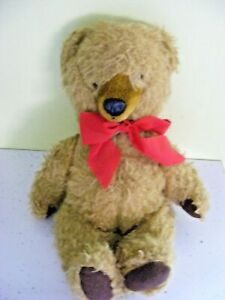 """Vintage teddy bear Burbank Toys made in England golden with brown paws 14"""" tall"""