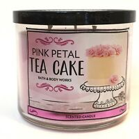 1 BATH & BODY WORKS PINK PETAL TEA CAKE SCENTED 3-WICK 14.5 OZ LARGE CANDLE NEW
