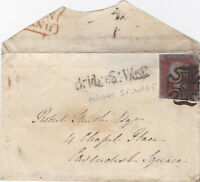 1844 QV BRIDGE STREET LONDON MX MALTESE CROSS ON SMALL COVER WITH A 1d RED STAMP