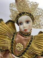 Vintage Doll Jester Porcelain Masquerade Gold Satin Teardrop On Cheek With Stand