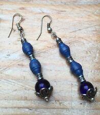 Pretty Blue Glass & Wood Earrings/Pierced/Droplet/Dainty/Hippy/Boho