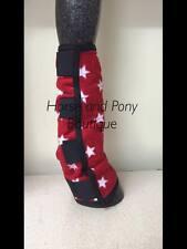 Fleece Horse leg wraps, stable chaps, Red with white stars, show leg wraps x 2