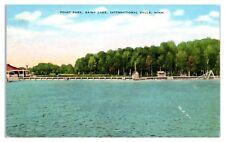 Mid-1900s Point Park, Rainy Lake, International Falls, MN Postcard
