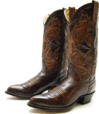 MENS J CHISHOLM BROWN LEATHER COWBOY WESTERN BOOTS SZ 7 D 7D MADE IN THE USA