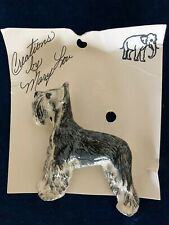 Vintage Giant Schnauzer Dog Brooch Pin Glazed Ceramic Artist painted sculpture