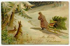 PERE NOEL. SANTA CLAUS.TRAINEAU.SLED.LAPIN.RABBIT. GAUFRé. EMBOSSED.GULDING.