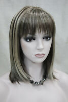 D168 Synthetic Gold Women Lady Medium Straight Hair Natural Full Wig Cospaly M
