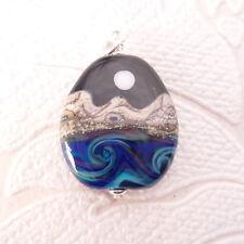 Desert Moon Lampwork Glass Pendant in .925 Sterling Silver Charm Pride Jewelry